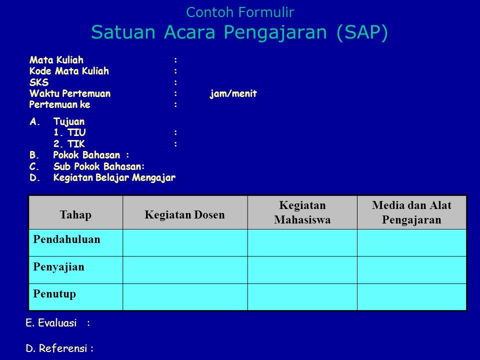 Contoh Formulir Satuan Acara Pengajaran (SAP)