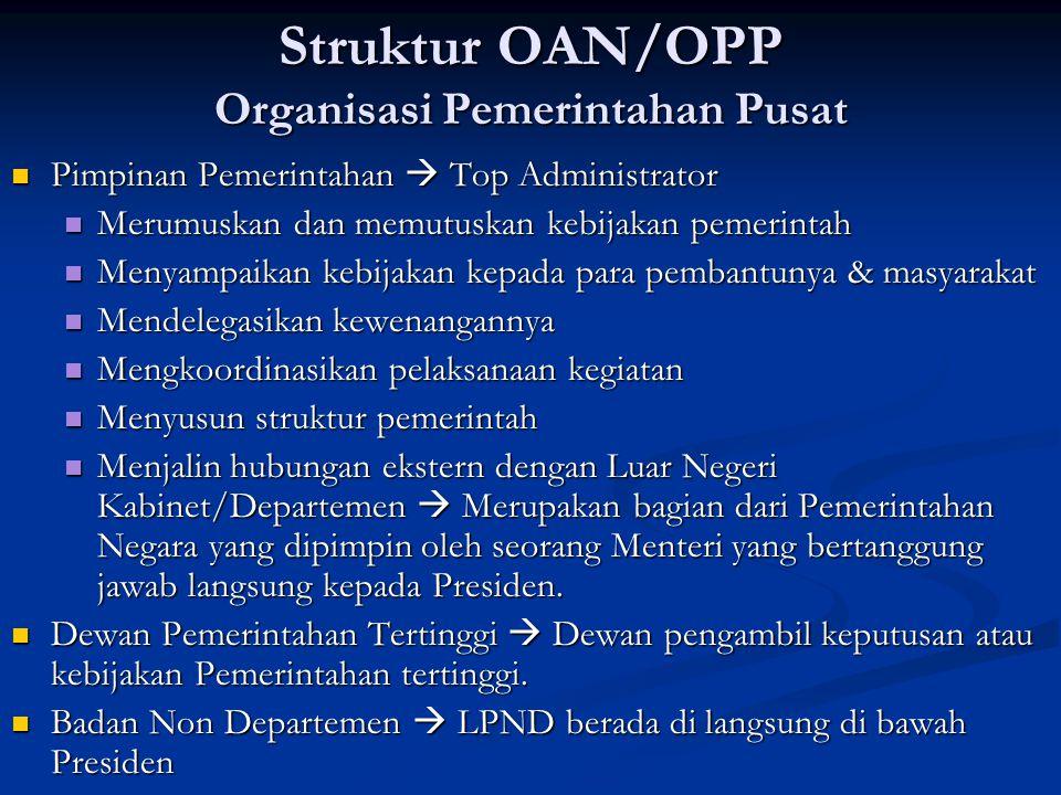 Struktur OAN/OPP Organisasi Pemerintahan Pusat
