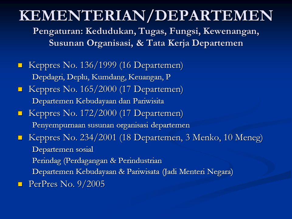 KEMENTERIAN/DEPARTEMEN Pengaturan: Kedudukan, Tugas, Fungsi, Kewenangan, Susunan Organisasi, & Tata Kerja Departemen