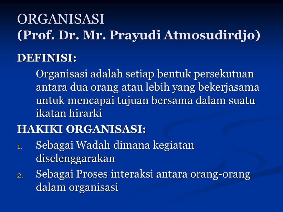 ORGANISASI (Prof. Dr. Mr. Prayudi Atmosudirdjo)