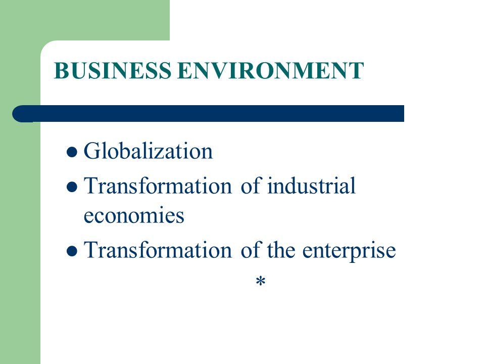 BUSINESS ENVIRONMENT Globalization. Transformation of industrial economies. Transformation of the enterprise.