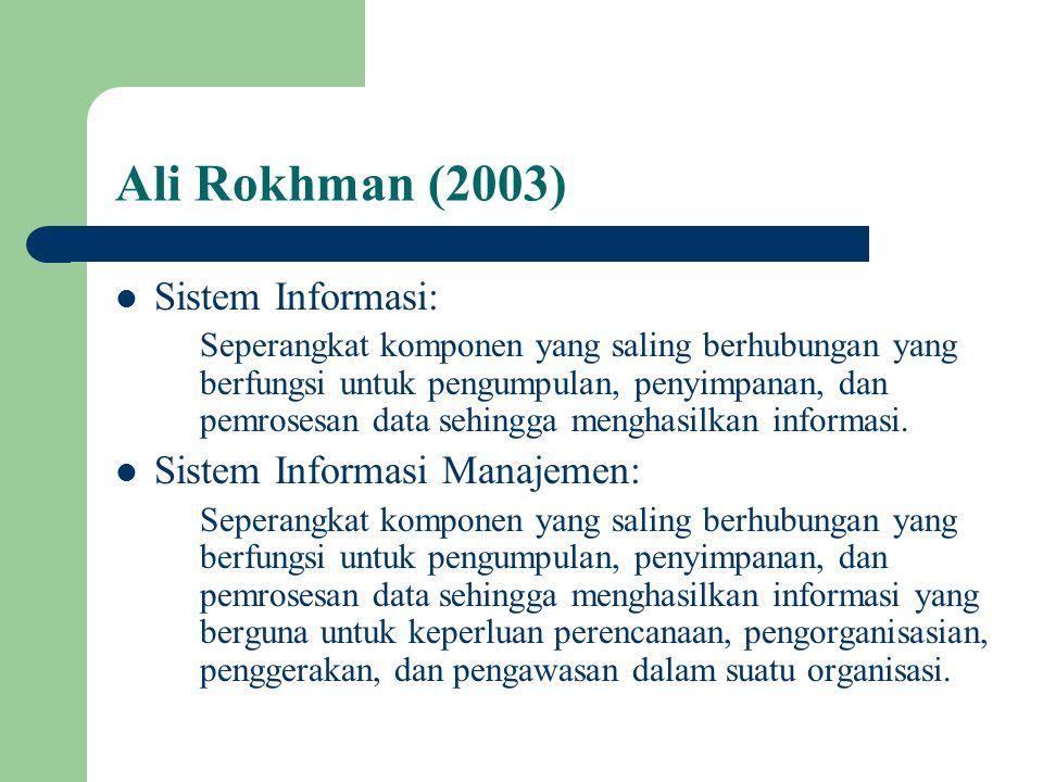 Ali Rokhman (2003) Sistem Informasi: Sistem Informasi Manajemen: