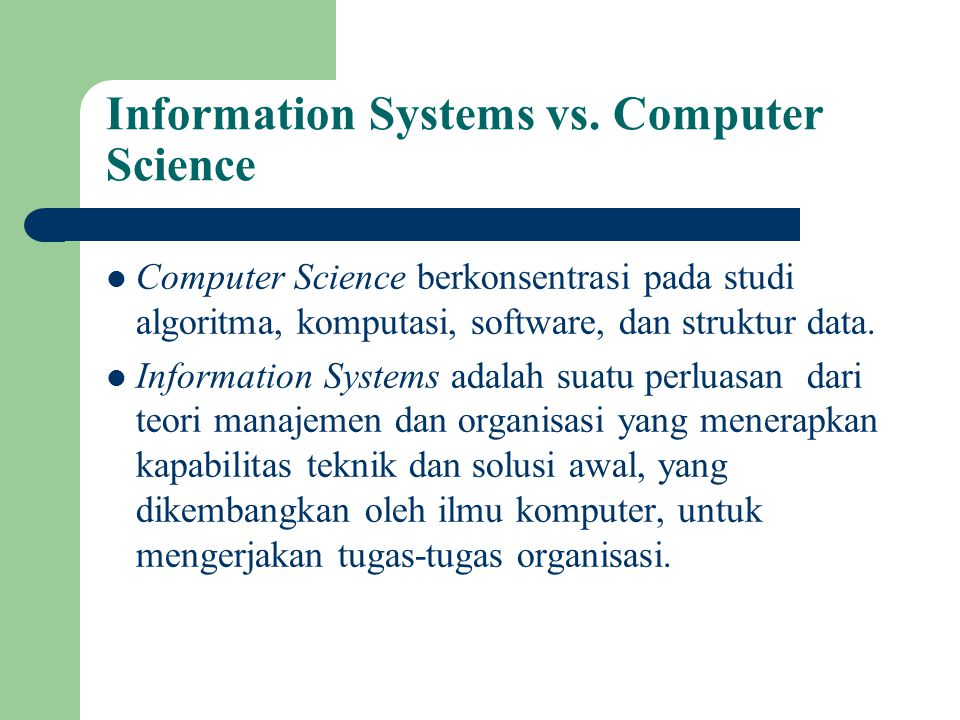 Information Systems vs. Computer Science