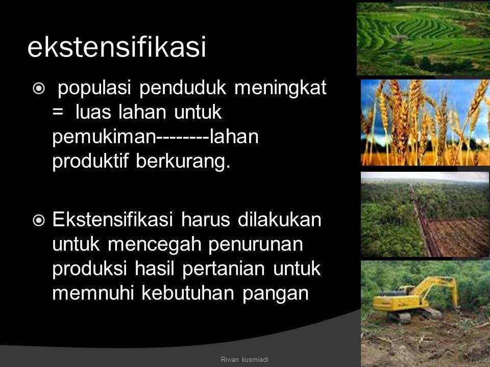 ekstensifikasi populasi penduduk meningkat = luas lahan untuk pemukiman--------lahan produktif berkurang.