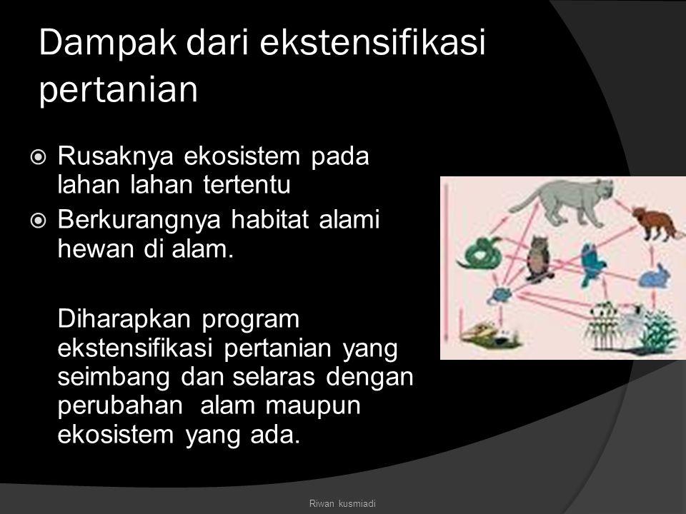 Dampak dari ekstensifikasi pertanian