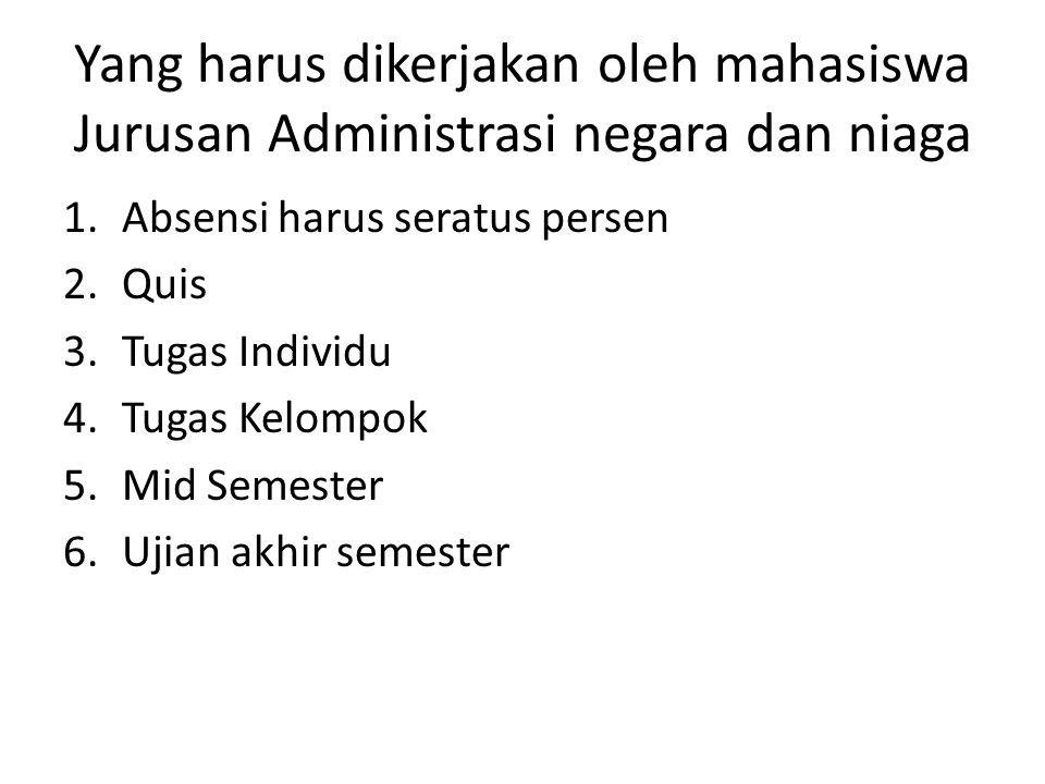 Yang harus dikerjakan oleh mahasiswa Jurusan Administrasi negara dan niaga