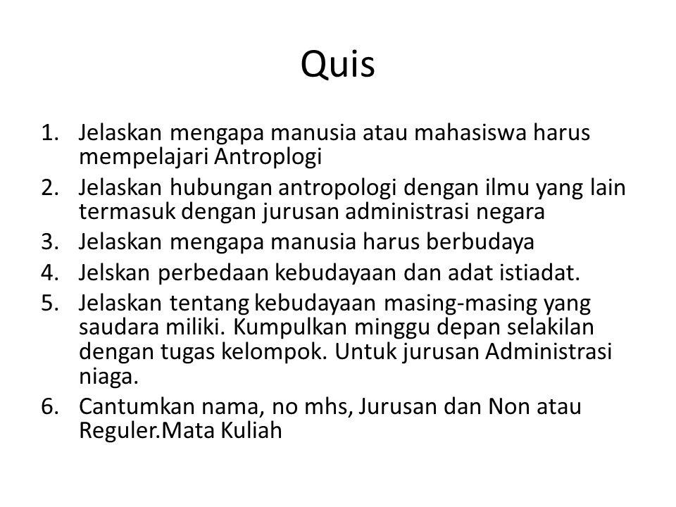 Quis Jelaskan mengapa manusia atau mahasiswa harus mempelajari Antroplogi.