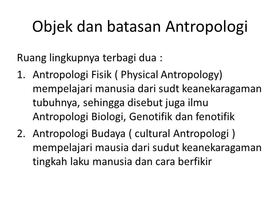Objek dan batasan Antropologi