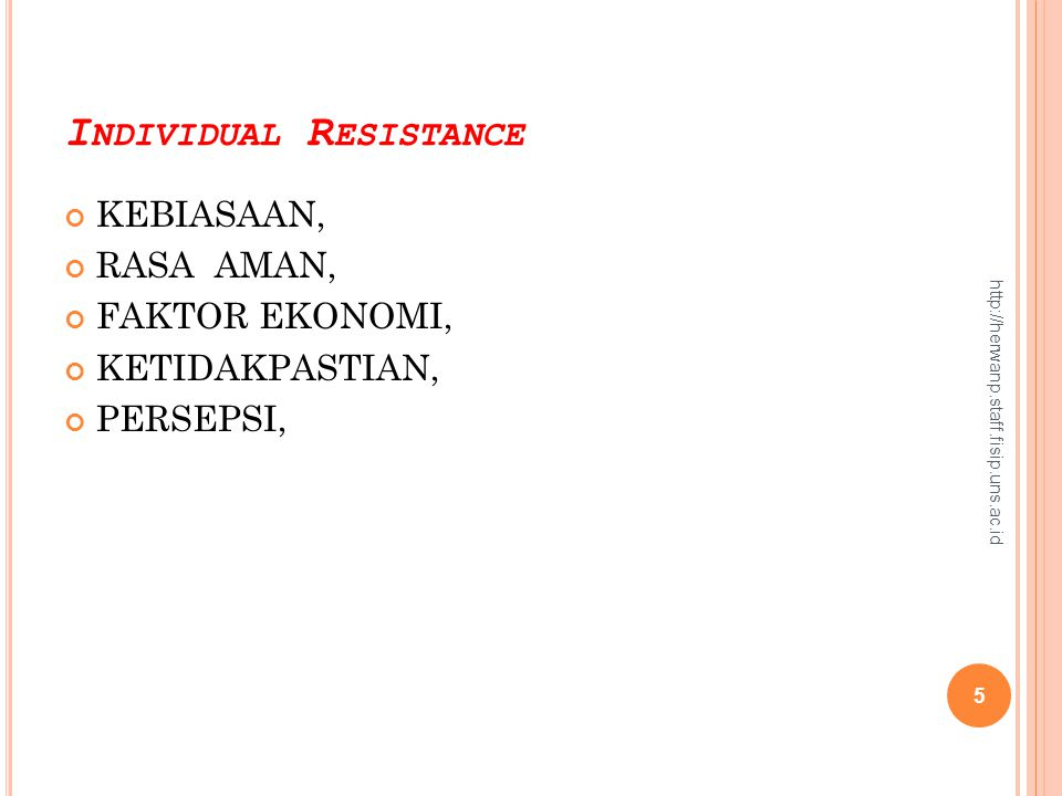 Individual Resistance