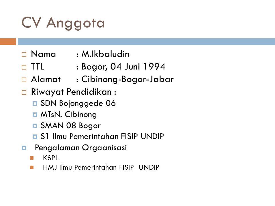 CV Anggota Nama : M.Ikbaludin TTL : Bogor, 04 Juni 1994