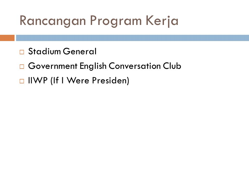Rancangan Program Kerja