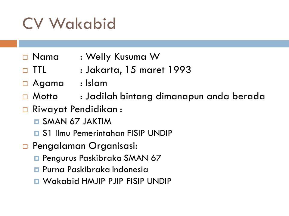 CV Wakabid Nama : Welly Kusuma W TTL : Jakarta, 15 maret 1993