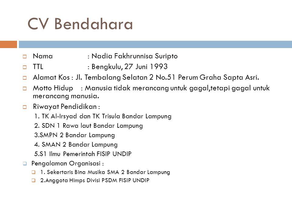 CV Bendahara Nama : Nadia Fakhrunnisa Suripto