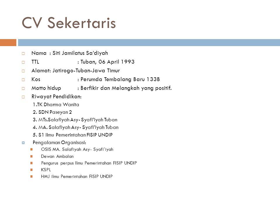 CV Sekertaris Nama : Siti Jamilatus Sa'diyah
