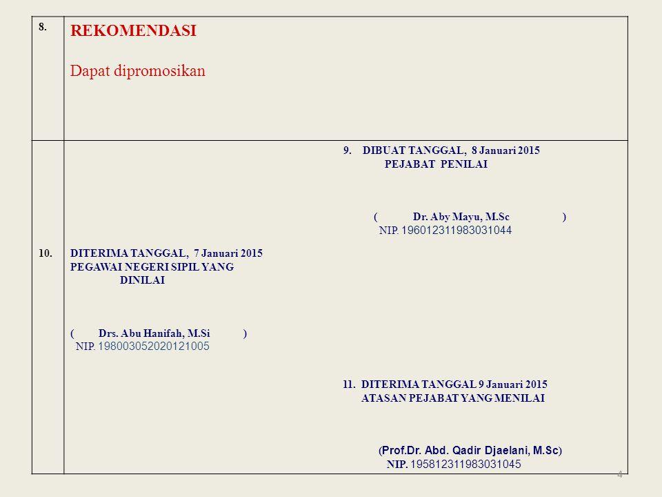 REKOMENDASI Dapat dipromosikan 8. 9. DIBUAT TANGGAL, 8 Januari 2015