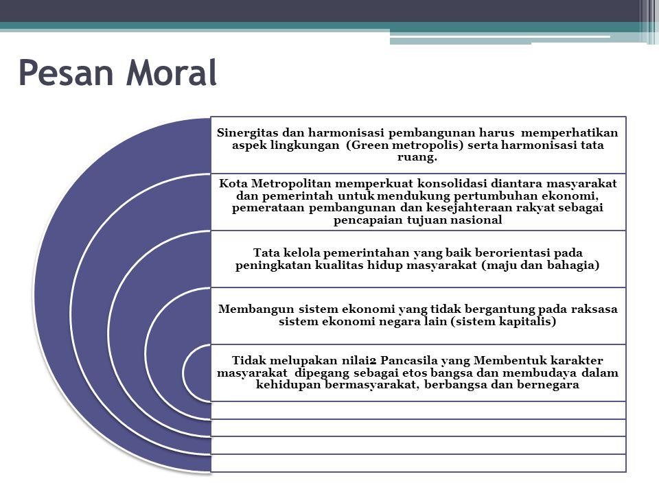 Pesan Moral Sinergitas dan harmonisasi pembangunan harus memperhatikan aspek lingkungan (Green metropolis) serta harmonisasi tata ruang.