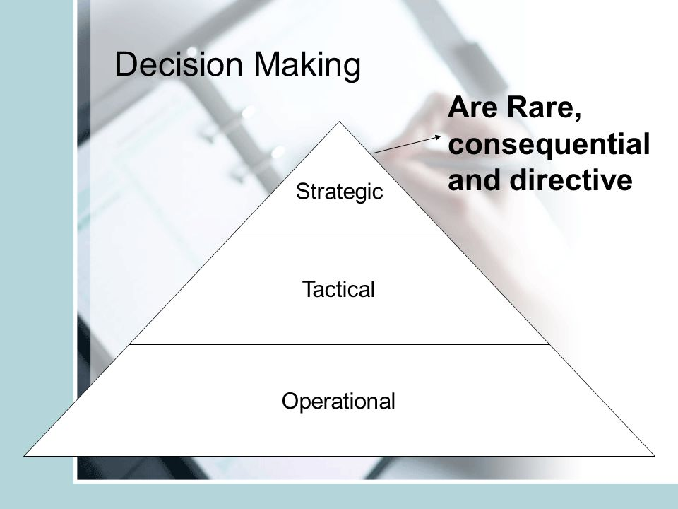 Decision Making Are Rare, consequential and directive Strategic