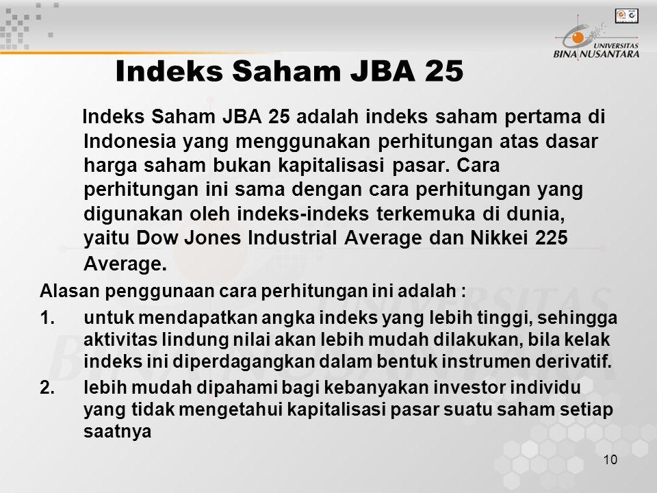 Indeks Saham JBA 25