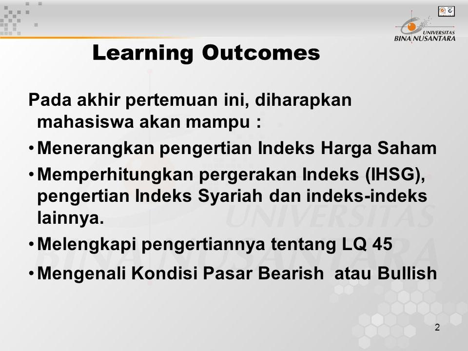 Learning Outcomes Pada akhir pertemuan ini, diharapkan mahasiswa akan mampu : Menerangkan pengertian Indeks Harga Saham.