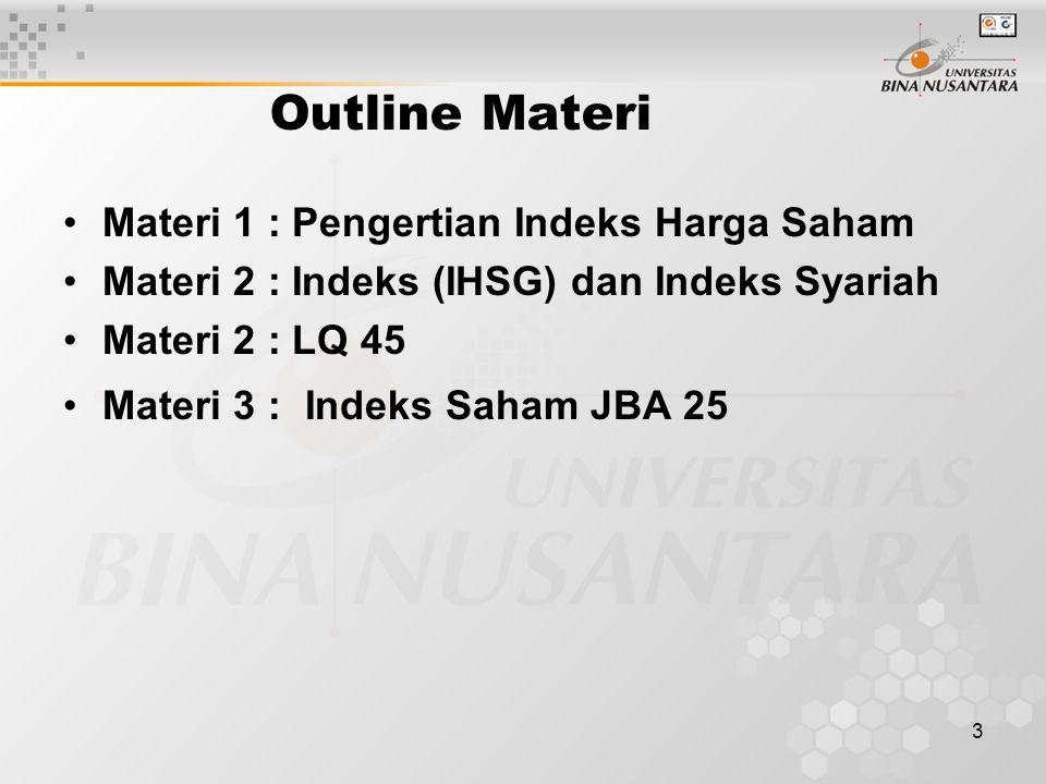 Outline Materi Materi 1 : Pengertian Indeks Harga Saham