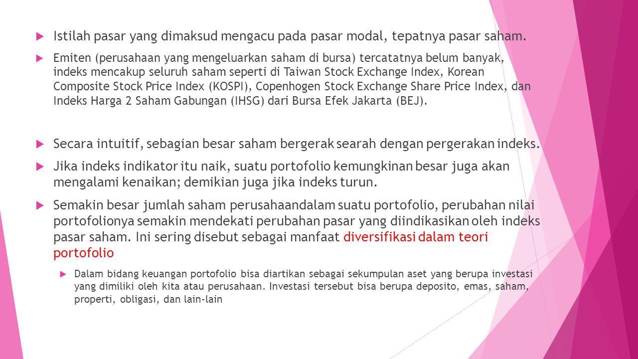 Istilah pasar yang dimaksud mengacu pada pasar modal, tepatnya pasar saham.