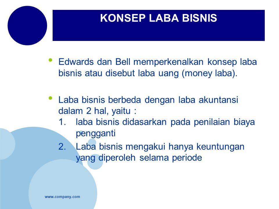 KONSEP LABA BISNIS Edwards dan Bell memperkenalkan konsep laba bisnis atau disebut laba uang (money laba).