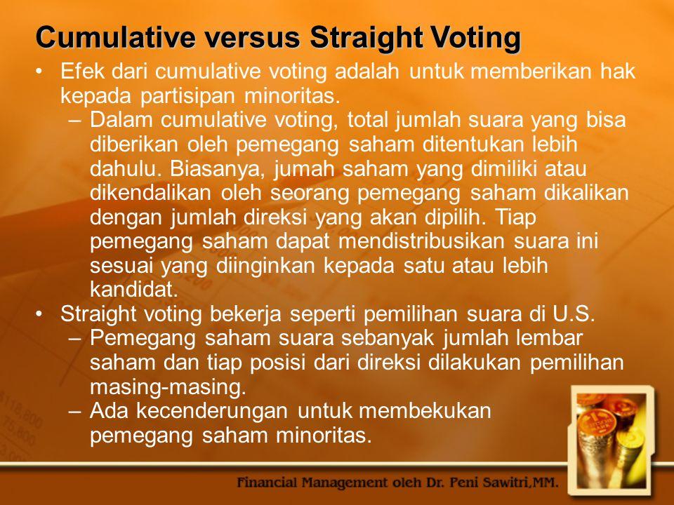 Cumulative versus Straight Voting