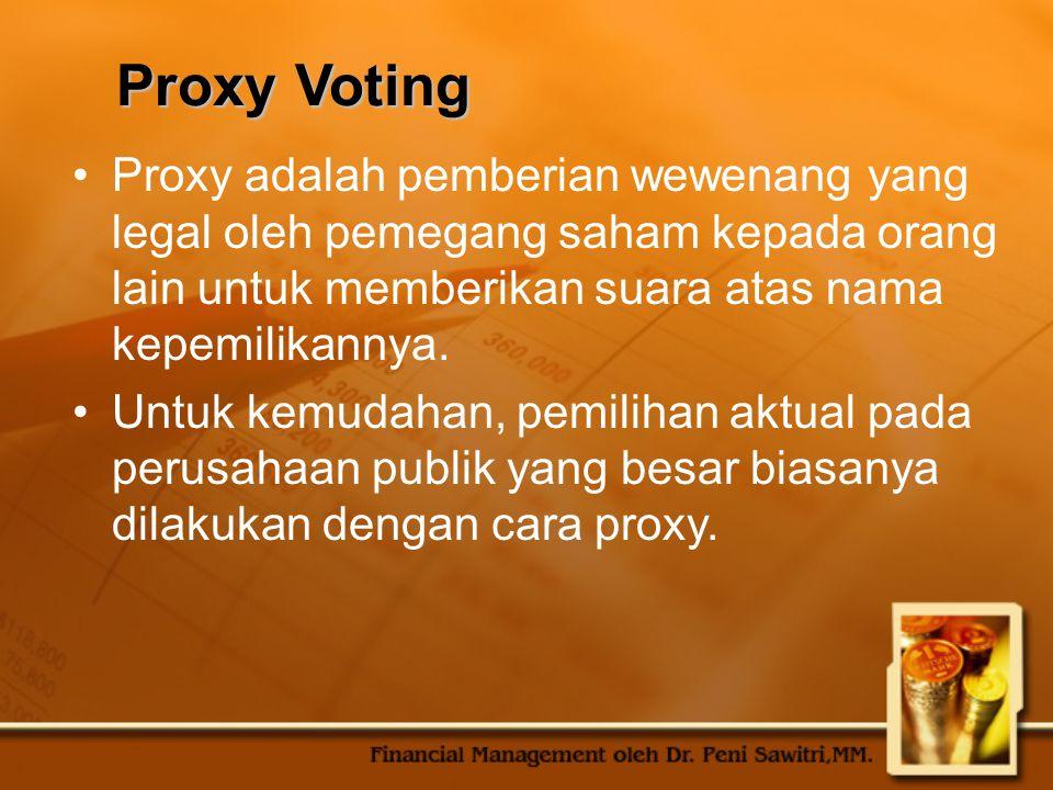 Proxy Voting Proxy adalah pemberian wewenang yang legal oleh pemegang saham kepada orang lain untuk memberikan suara atas nama kepemilikannya.