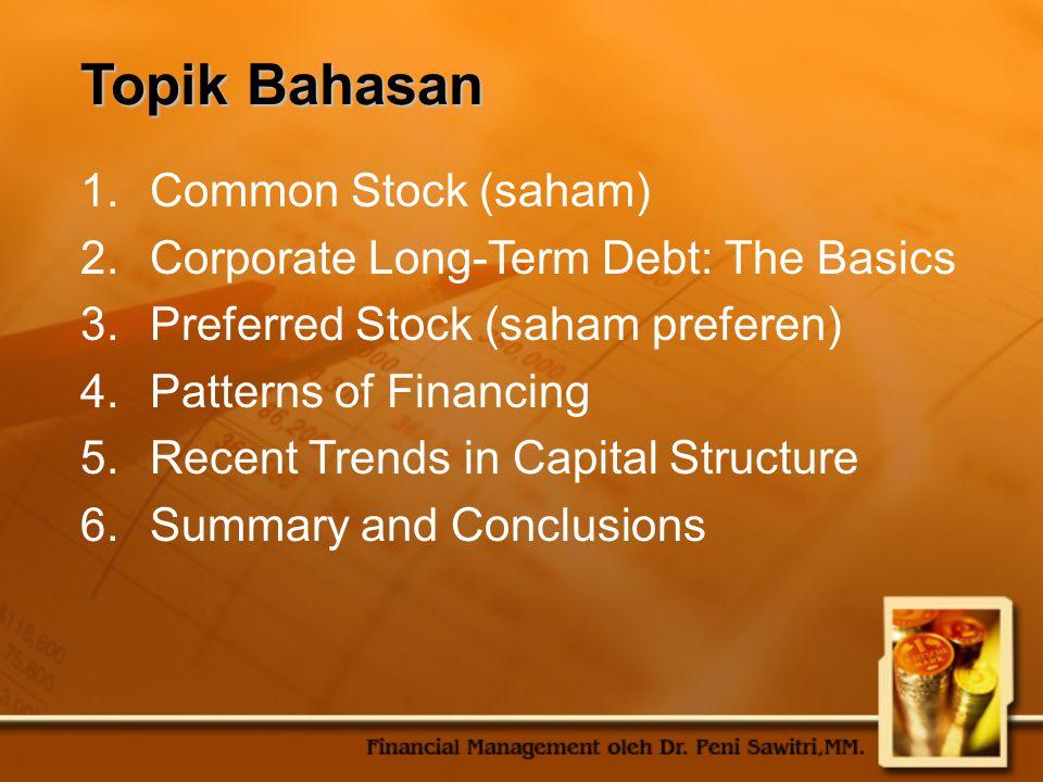 Topik Bahasan Common Stock (saham)