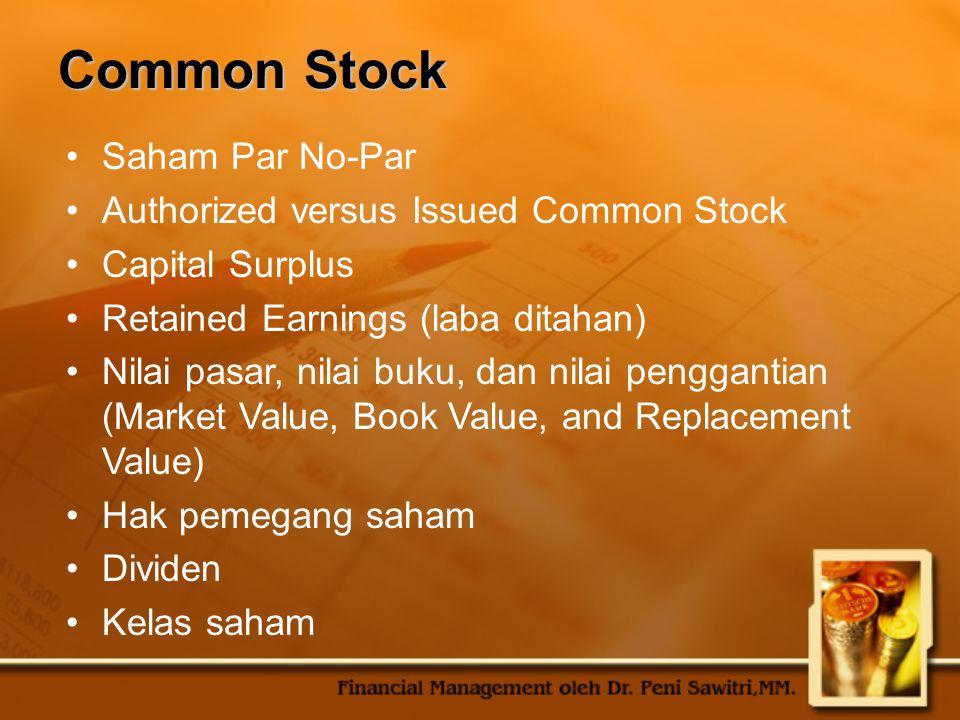 Common Stock Saham Par No-Par Authorized versus Issued Common Stock