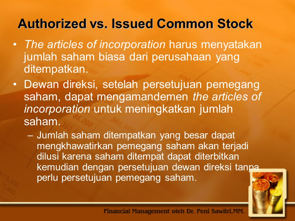 Authorized vs. Issued Common Stock