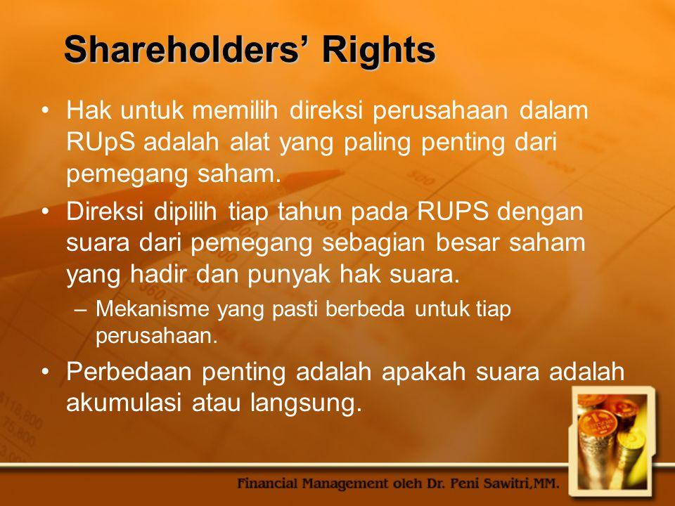 Shareholders' Rights Hak untuk memilih direksi perusahaan dalam RUpS adalah alat yang paling penting dari pemegang saham.