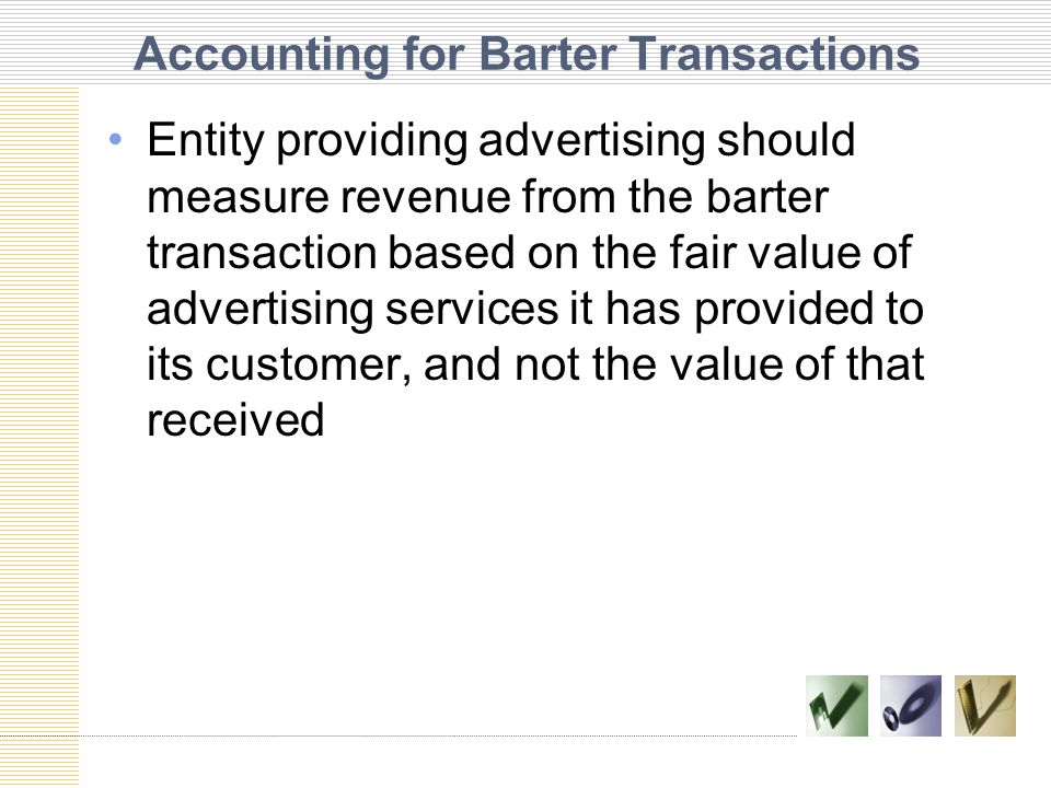 Accounting for Barter Transactions