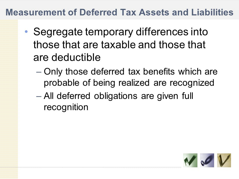 Measurement of Deferred Tax Assets and Liabilities