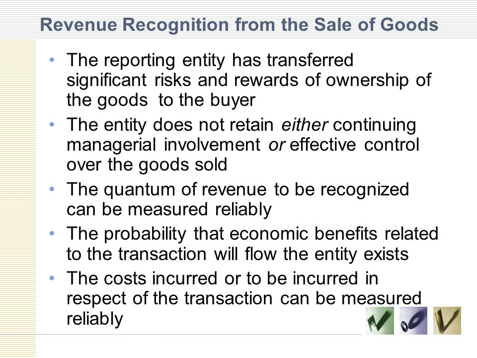 Revenue Recognition from the Sale of Goods