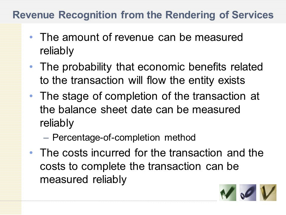 Revenue Recognition from the Rendering of Services
