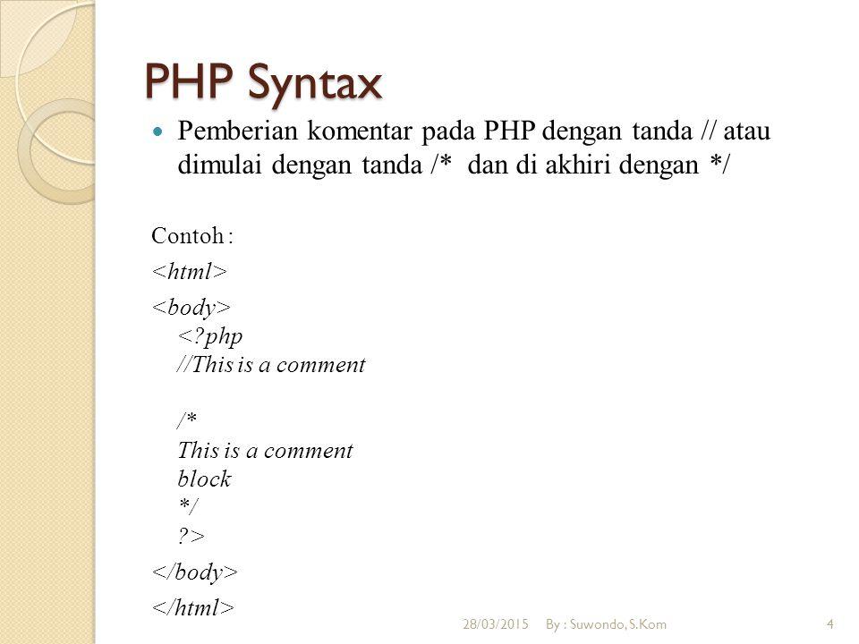 PHP Syntax Pemberian komentar pada PHP dengan tanda // atau dimulai dengan tanda /* dan di akhiri dengan */
