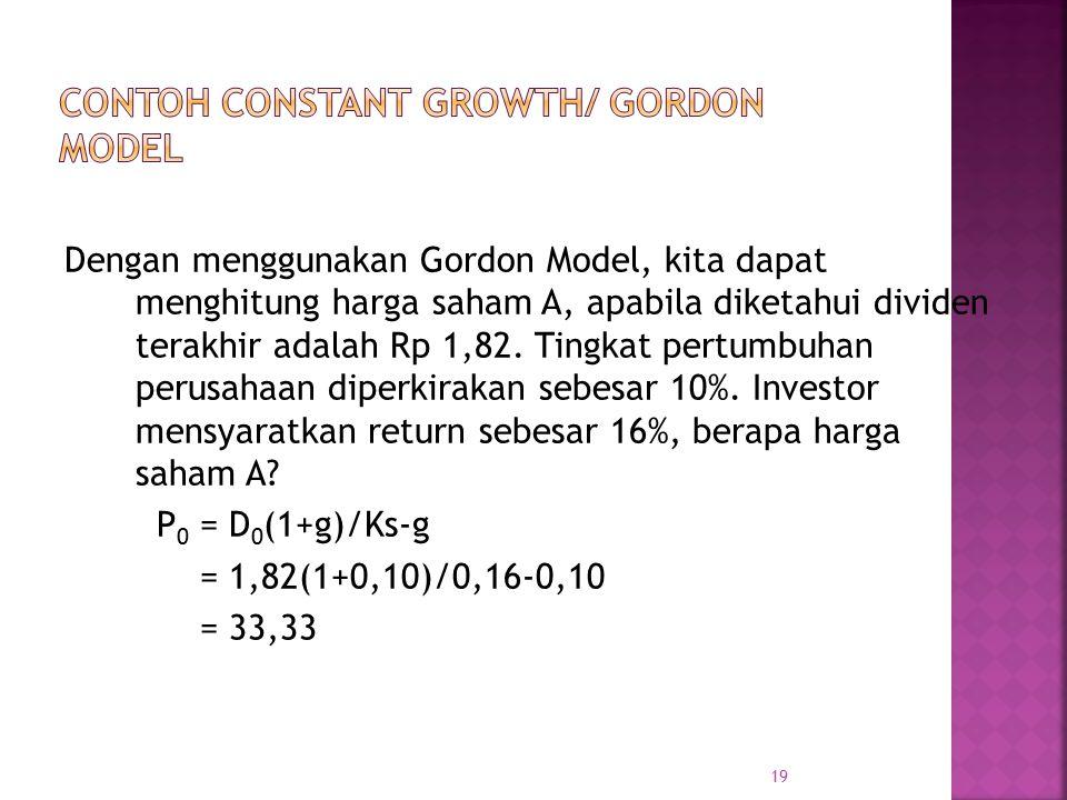Contoh Constant Growth/ Gordon Model