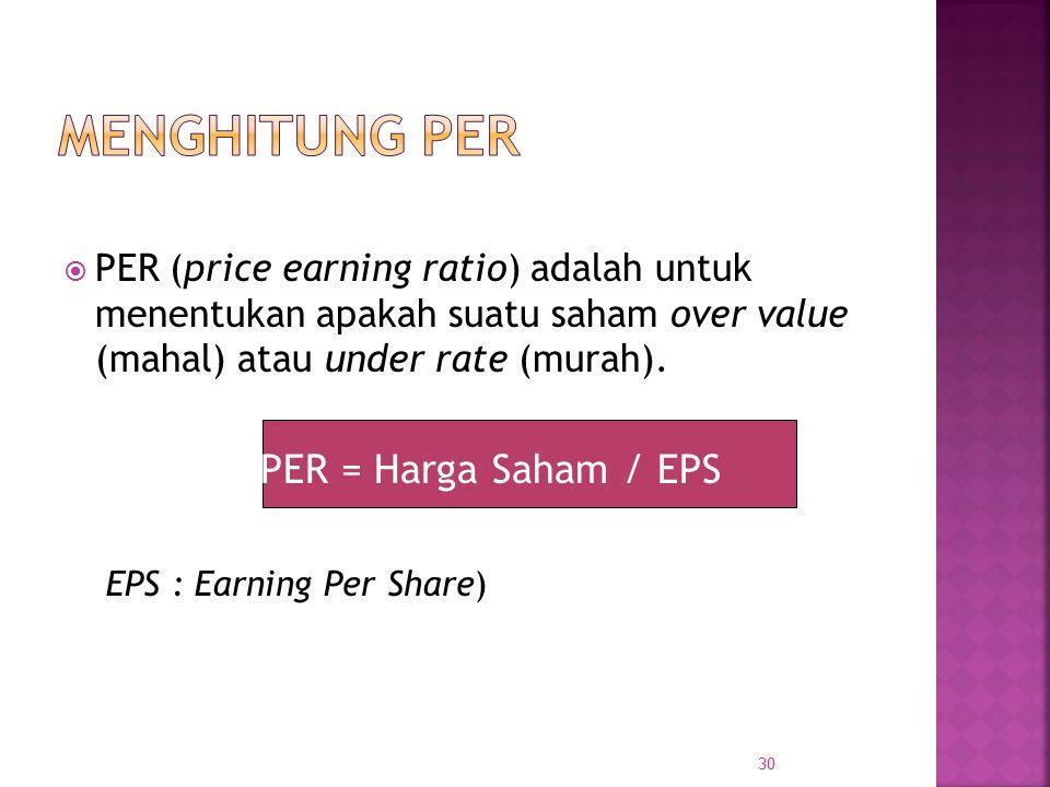 Menghitung PER PER (price earning ratio) adalah untuk menentukan apakah suatu saham over value (mahal) atau under rate (murah).
