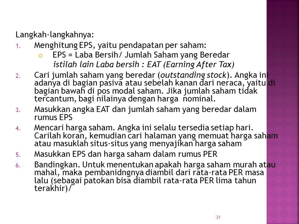Langkah-langkahnya: Menghitung EPS, yaitu pendapatan per saham: EPS = Laba Bersih/ Jumlah Saham yang Beredar.