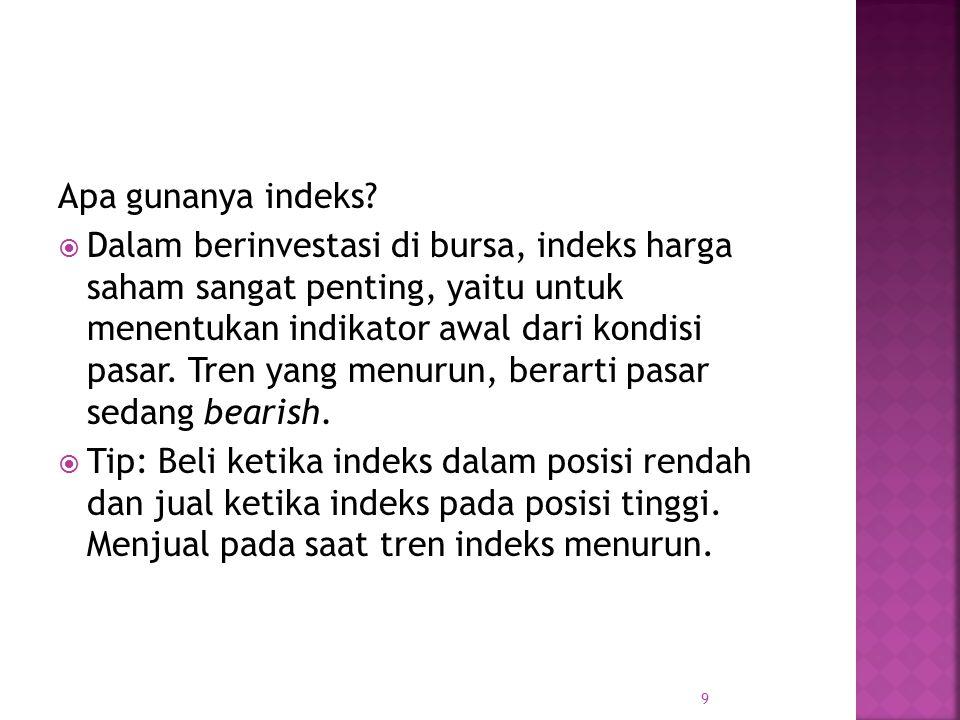 Apa gunanya indeks