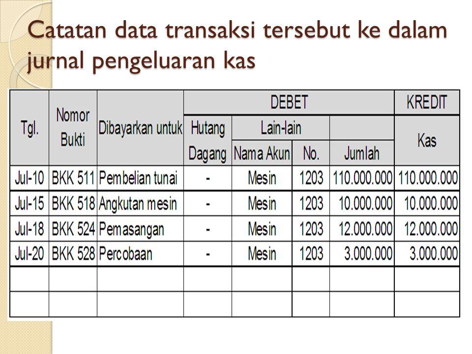 Catatan data transaksi tersebut ke dalam jurnal pengeluaran kas