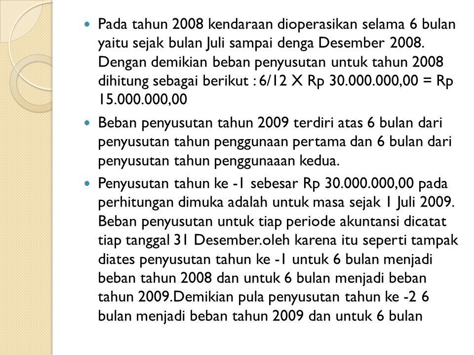 Pada tahun 2008 kendaraan dioperasikan selama 6 bulan yaitu sejak bulan Juli sampai denga Desember 2008. Dengan demikian beban penyusutan untuk tahun 2008 dihitung sebagai berikut : 6/12 X Rp 30.000.000,00 = Rp 15.000.000,00