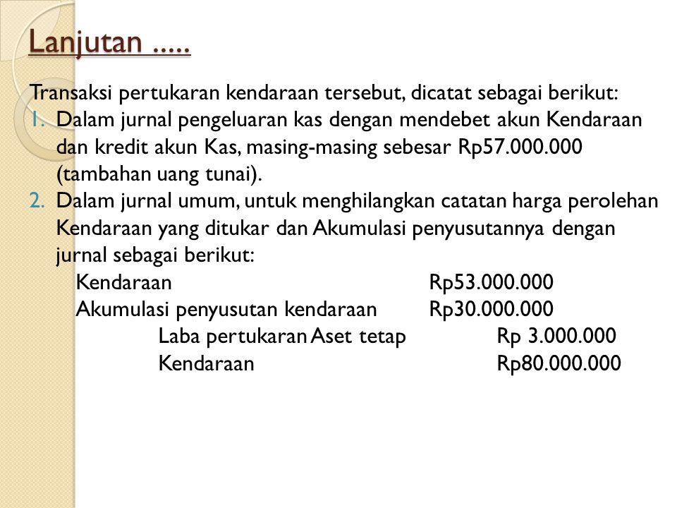Lanjutan ..... Transaksi pertukaran kendaraan tersebut, dicatat sebagai berikut: