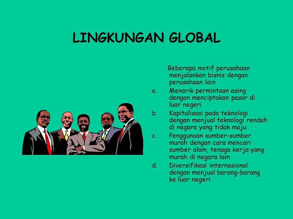 LINGKUNGAN GLOBAL Beberapa motif perusahaan menjalankan bisnis dengan perusahaan lain.