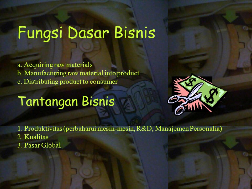 Fungsi Dasar Bisnis a. Acquiring raw materials b