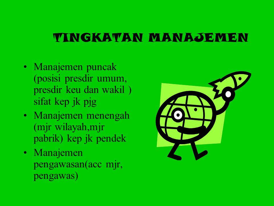 TINGKATAN MANAJEMEN Manajemen puncak (posisi presdir umum, presdir keu dan wakil ) sifat kep jk pjg.