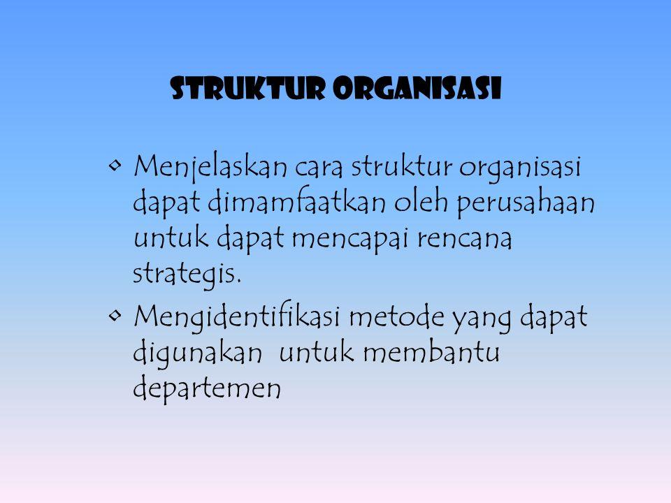 STRUKTUR ORGANISASI Menjelaskan cara struktur organisasi dapat dimamfaatkan oleh perusahaan untuk dapat mencapai rencana strategis.