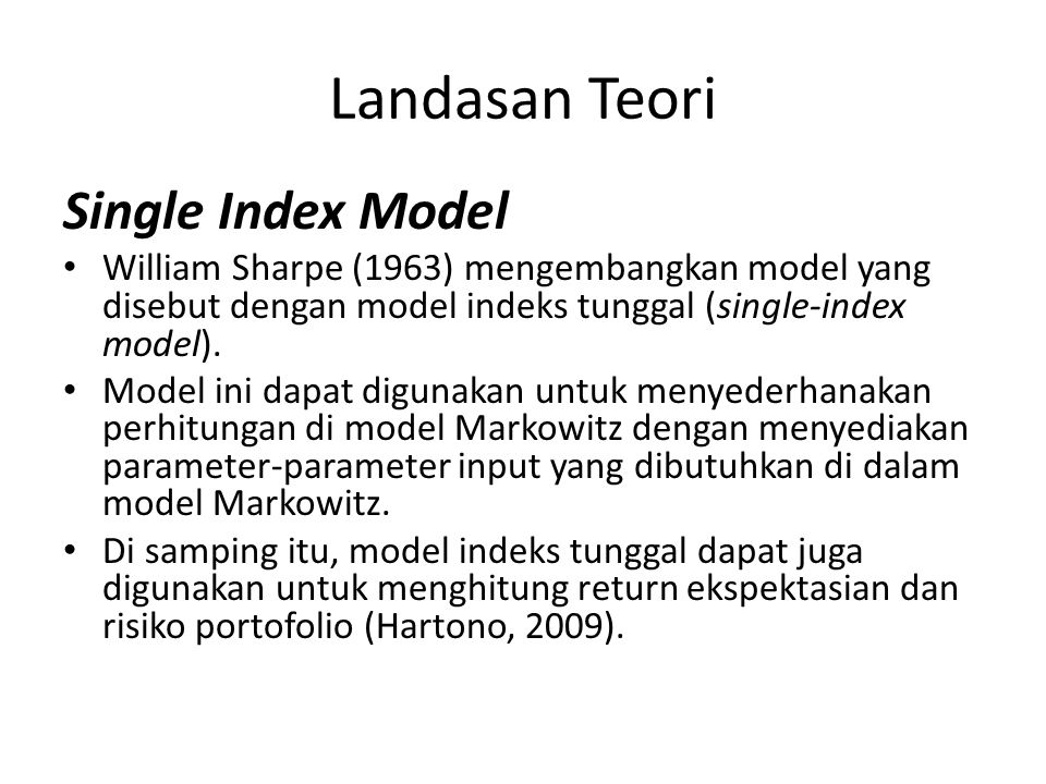 Landasan Teori Single Index Model
