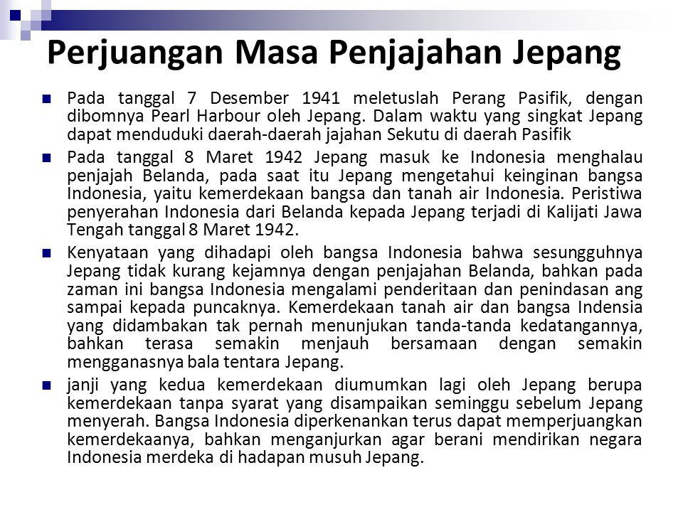 Perjuangan Masa Penjajahan Jepang